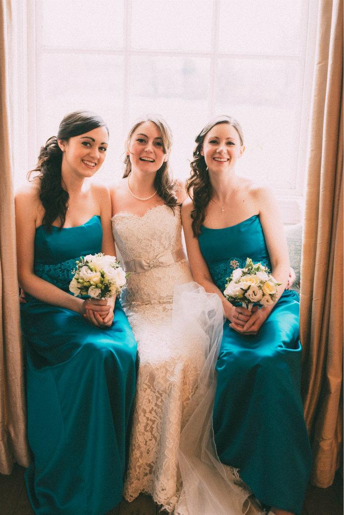 Handmade Teal bridesmaids dresses, match vicky colour theme.